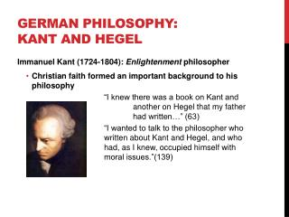 German Philosophy: Kant and Hegel