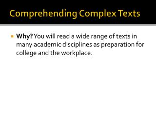 Comprehending Complex Texts