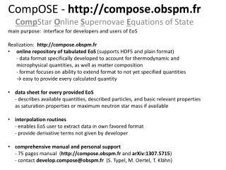 CompOSE -  compose.obspm.fr  Comp Star  O nline  S upernovae  E quations of State