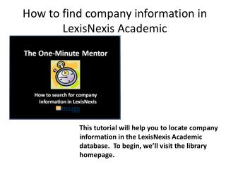 How to find company information in LexisNexis Academic