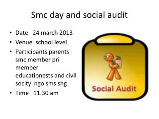 Smc  day and social audit