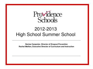 2012-2013 High School Summer School