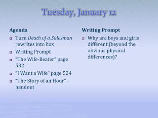 Tuesday, January 12