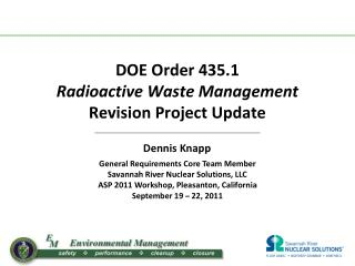 DOE Order 435.1  Radioactive Waste Management Revision Project Update