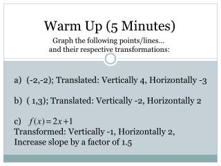 Warm Up (5 Minutes)