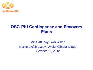 OSG PKI Contingency and Recovery Plans