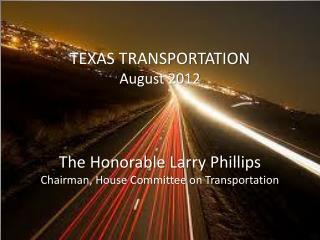 TEXAS TRANSPORTATION August 2012