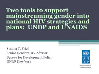 Susana T. Fried Senior Gender/HIV Advisor Bureau for Development Policy UNDP New York