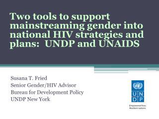 Susana T. Fried Senior Gender/HIV Advisor Bureau for Development Policy UNDP New York