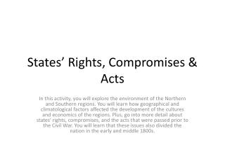 States' Rights, Compromises & Acts