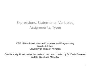 Expressions, Statements, Variables, Assignments, Types