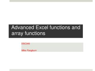 Advanced Excel  functions and array functions