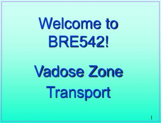 Welcome to BRE542 Vadose Zone Transport