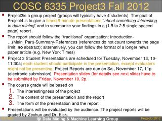 COSC 6335  Project3  Fall  2012