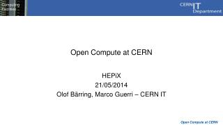 Open Compute at CERN