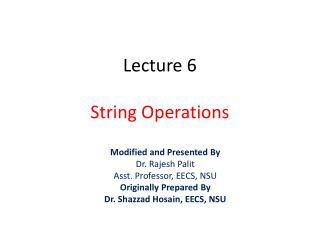 Lecture  6 String Operations