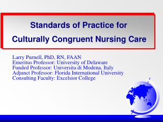 Standards of Practice for Culturally Congruent Nursing Care