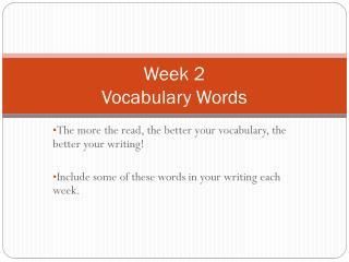 Week 2 Vocabulary Words