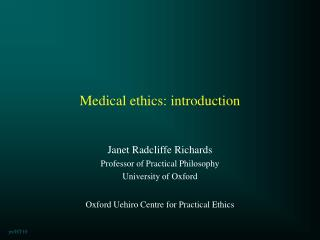 Medical ethics: introduction