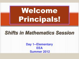 Welcome Principals!