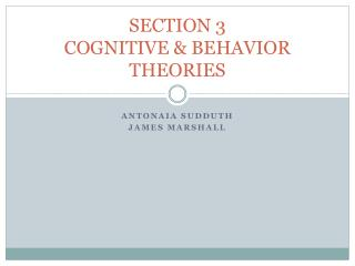 SECTION 3 COGNITIVE & BEHAVIOR THEORIES