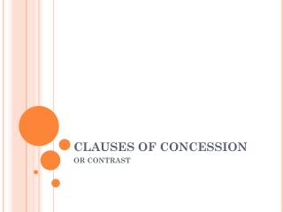 CLAUSES OF CONCESSION