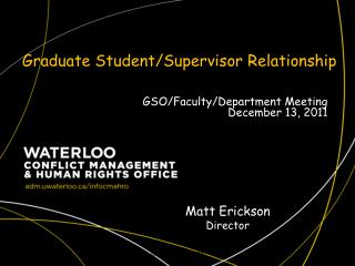 Graduate Student/Supervisor  Relationship