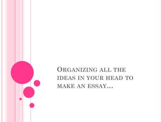Organizing all the ideas in your head to make an essay…