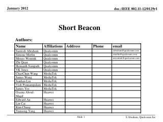 Short Beacon