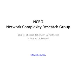 NCRG Network Complexity Research Group