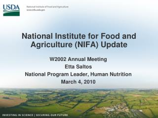National Institute for Food and Agriculture (NIFA) Update