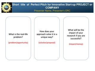 Short  title  of  Perfect Pitch for Innovative Start-up PROJECT or COMPANY