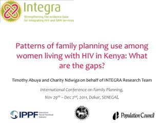 Patterns of family planning use among women living with HIV in Kenya: What are the gaps?