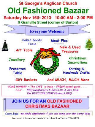 St George's Anglican Church Old Fashioned Bazaar Saturday Nov  16th 2013    10:00 AM - 2:00 PM