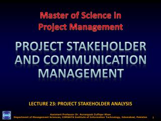 LECTURE 23: PROJECT STAKEHOLDER ANALYSIS
