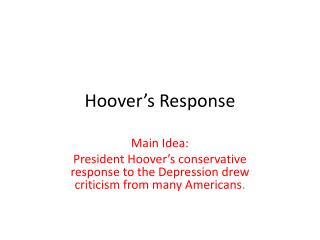 Hoover�s Response