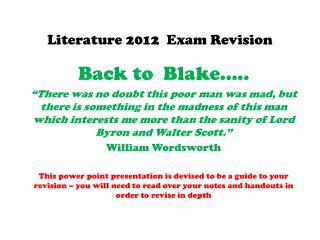 Literature  2012   Exam Revision
