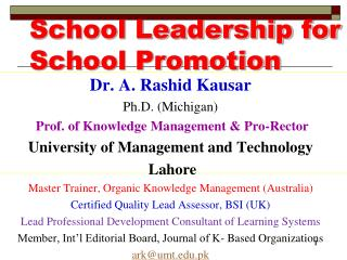 School Leadership for School Promotion