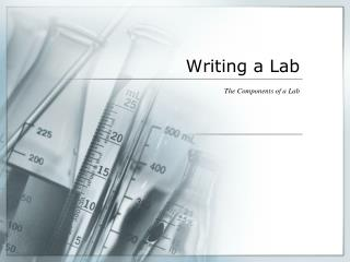 Writing a Lab