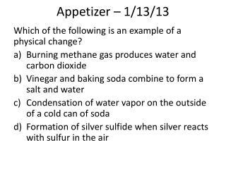 Appetizer – 1/13/13
