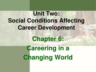Unit Two: S ocial Conditions Affecting Career Development