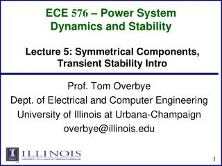 ECE  576 � Power System Dynamics and Stability