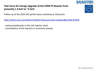 Task Force for Energy Upgrade of the CERN PS Booster from  presently 1.4 GeV to ~2 GeV