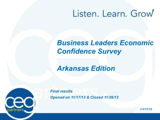 Business Leaders Economic Confidence Survey Arkansas Edition