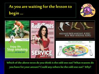 As you are waiting for the lesson to begin �