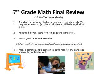7 th  Grade Math Final Review (20 % of Semester Grade)