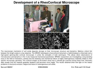 Development of a RheoConfocal Microscope