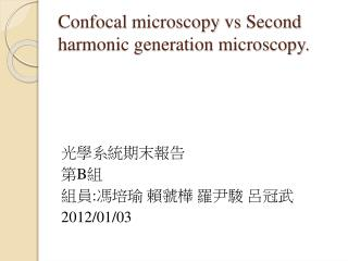 Confocal  microscopy  vs  Second harmonic generation microscopy.