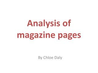Analysis of magazine pages