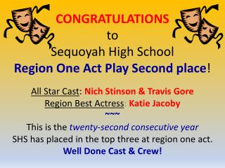 CONGRATULATIONS to Sequoyah High School  Region One Act Play Second place !